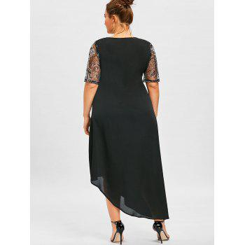 Plus Size Sequined Trim Asymmetric Flowy Dress - BLACK 3XL
