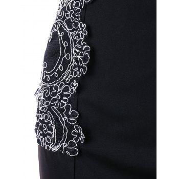 Lace Applique Bodycon Dress - BLACK XL
