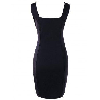 Lace Applique Bodycon Dress - BLACK 2XL