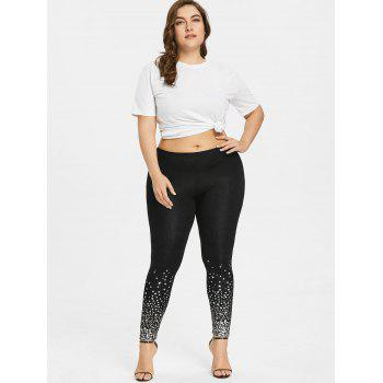 Plus Size Two Tone Stars Print Leggings - BLACK 2XL