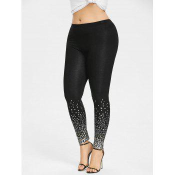 Plus Size Two Tone Stars Print Leggings - BLACK 3XL