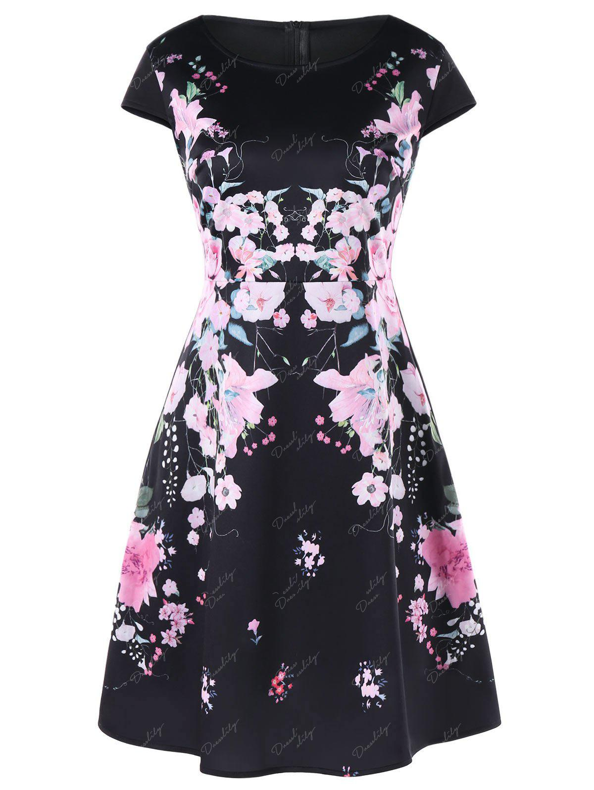 A-line Flower Print Dress - BLACK M