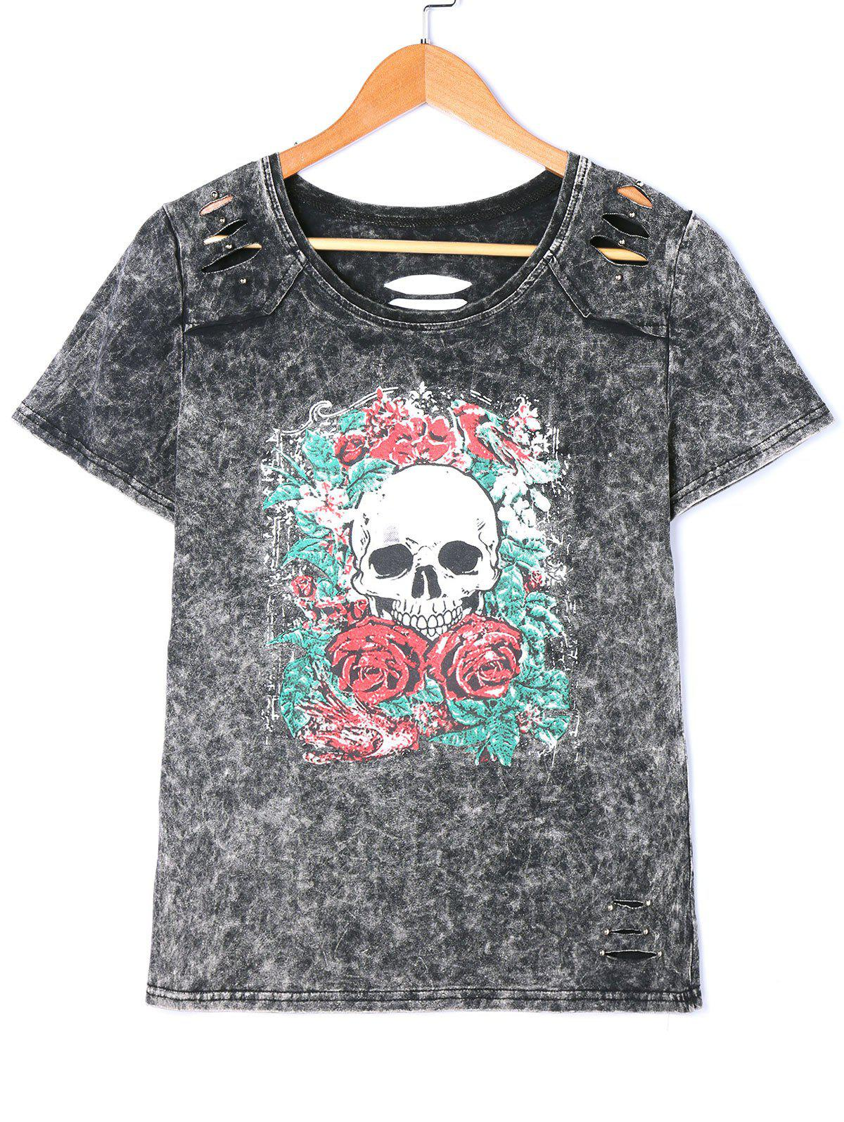 Skull Print Wahsed Slashed Lived in Tee - GRAY M