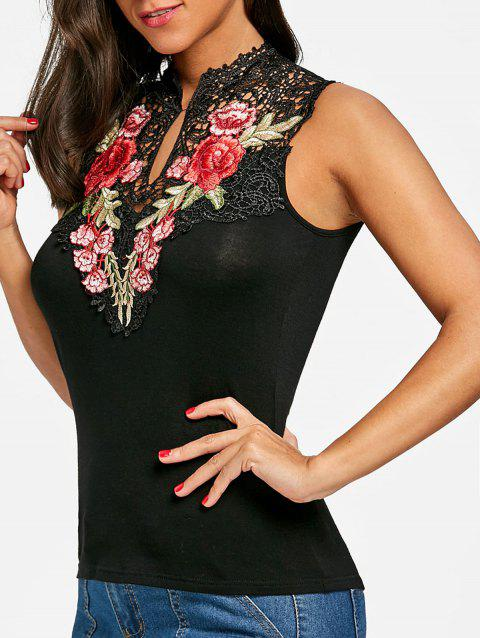 Flower Embroidered Open Back Tank Top - BLACK L