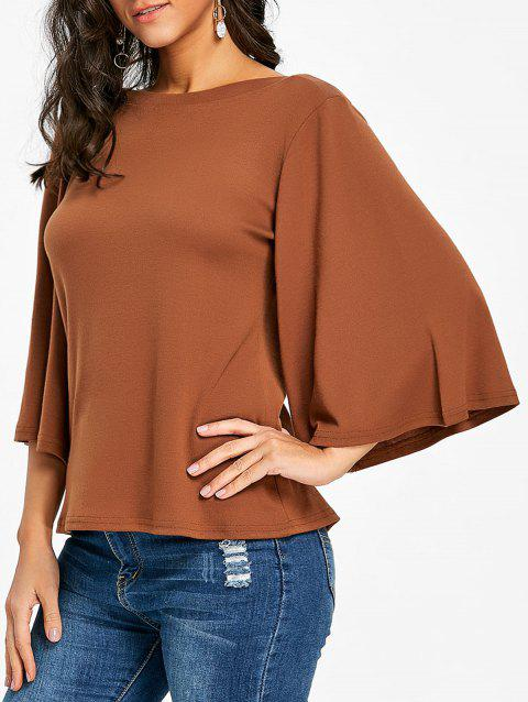 Flare Sleeve Tunic T-shirt - CAPPUCCINO L