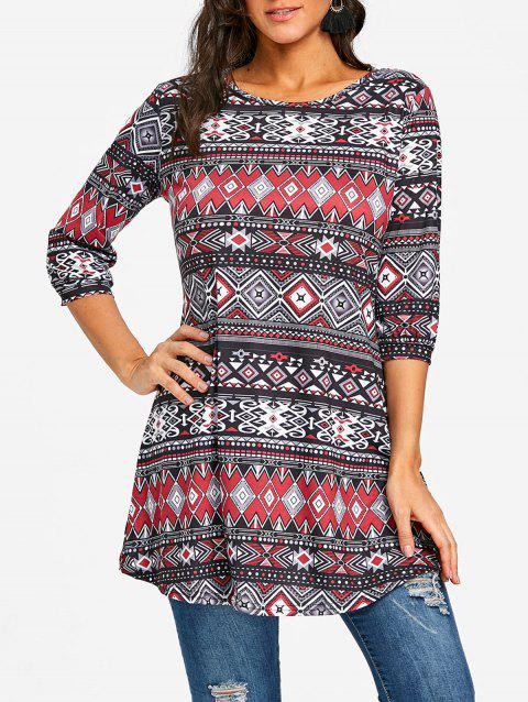 Argyle Tribal Print Swing Tunic T-shirt - COLORMIX S