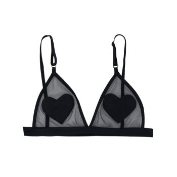 Mesh Heart Patched Bralette - BLACK S