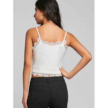 Lace Trim Crop Cami Strap Tank Top - WHITE XL