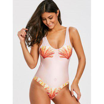 Funny Print Padded Tank One Piece Swimsuit - YELLOWISH PINK L