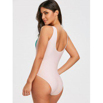 Scoop Neck Full Piece Maillot de bain - Carnation XL