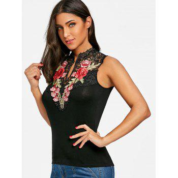 Flower Embroidered Open Back Tank Top - BLACK M