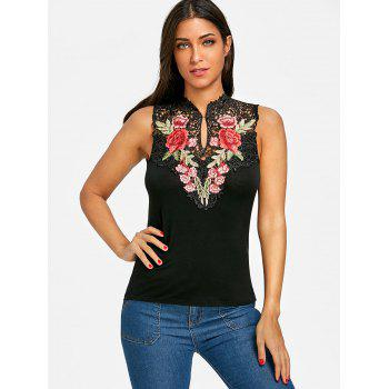 Flower Embroidered Open Back Tank Top - BLACK XL