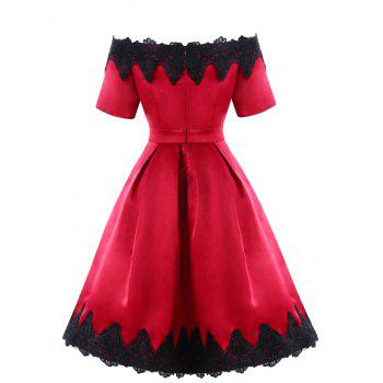 Lace Trim Vintage A Line Dress - WINE RED L