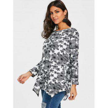 Full Sleeve Floral T-shirt - BLACK WHITE M