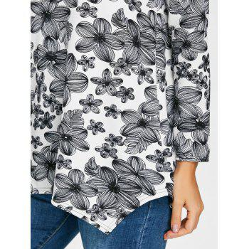 Full Sleeve Floral T-shirt - BLACK WHITE 2XL