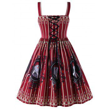 Plus Size Lace Up Sleeveless Vintage Swing Dress - BRICK RED 5XL