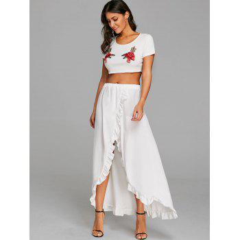 Ruffle Slit Maxi Skirt - WHITE L