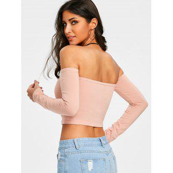 Letter Embroidered Off The Shoulder T-shirt - PALE PINKISH GREY M