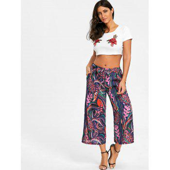Tropical Leaf Print Palazzo Pants - COLORMIX S