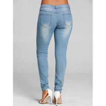 Floral Embroidered Skinny Destroyed Jeans - DENIM BLUE L