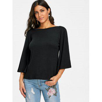 Flare Sleeve Tunic T-shirt - BLACK S