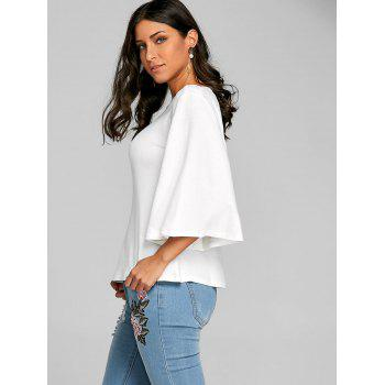 Flare Sleeve Tunic T-shirt - WHITE L