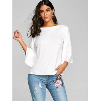 Flare Sleeve Tunic T-shirt - WHITE M