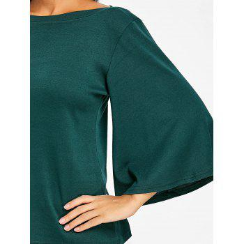 Flare Sleeve Tunic T-shirt - BLACKISH GREEN 2XL