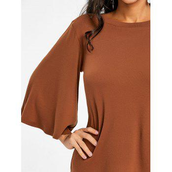 Flare Sleeve Tunic T-shirt - CAPPUCCINO M