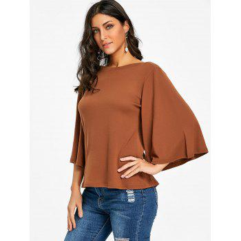 Flare Sleeve Tunic T-shirt - CAPPUCCINO S
