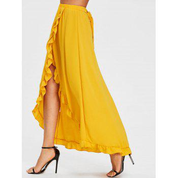 Ruffle Slit Maxi Skirt - YELLOW 2XL