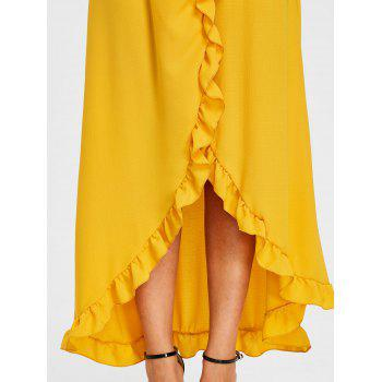 Ruffle Slit Maxi Skirt - YELLOW S