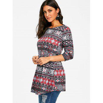 Argyle Tribal Print Swing Tunic T-shirt - COLORMIX M