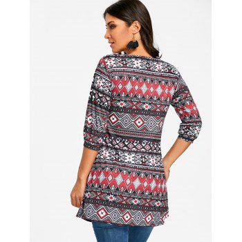 Argyle Tribal Print Swing Tunic T-shirt - COLORMIX L