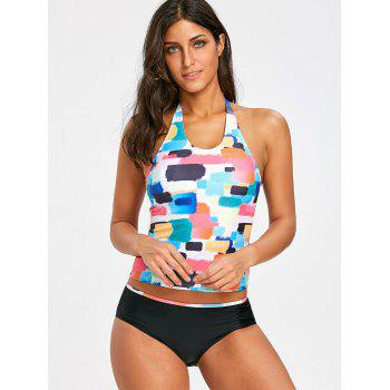 Low Waisted Colorful Tankini Set - COLORFUL S