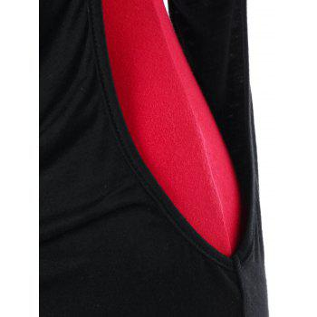 Cut Out Panel Tank Top - BLACK/RED L