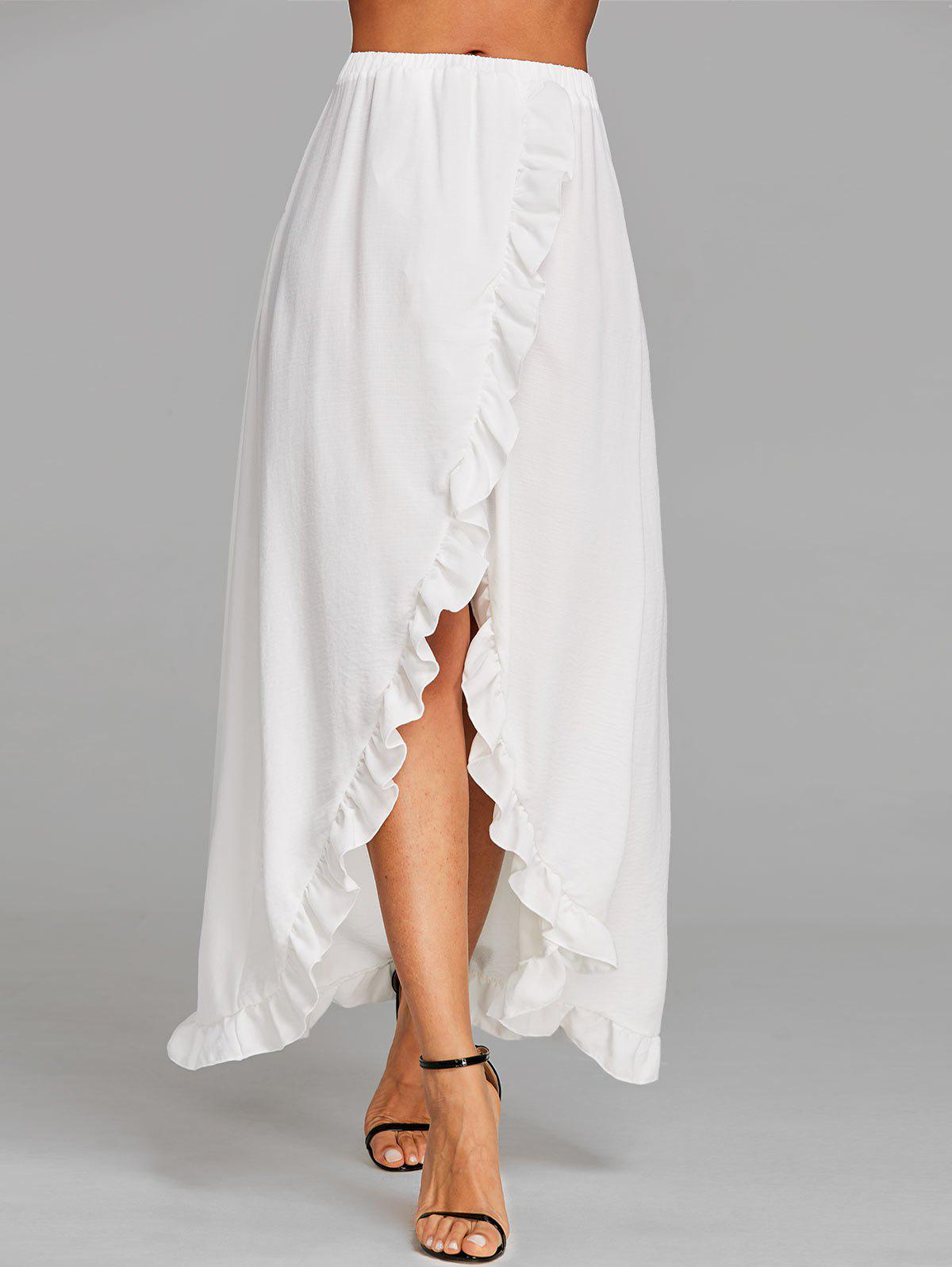 Ruffle Slit Maxi Skirt - WHITE XL