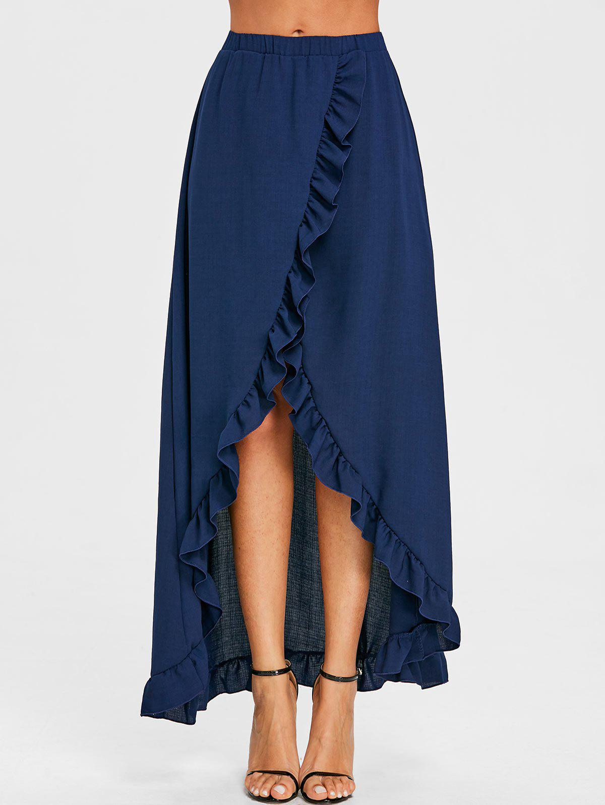 Ruffle Slit Maxi Skirt - PURPLISH BLUE S