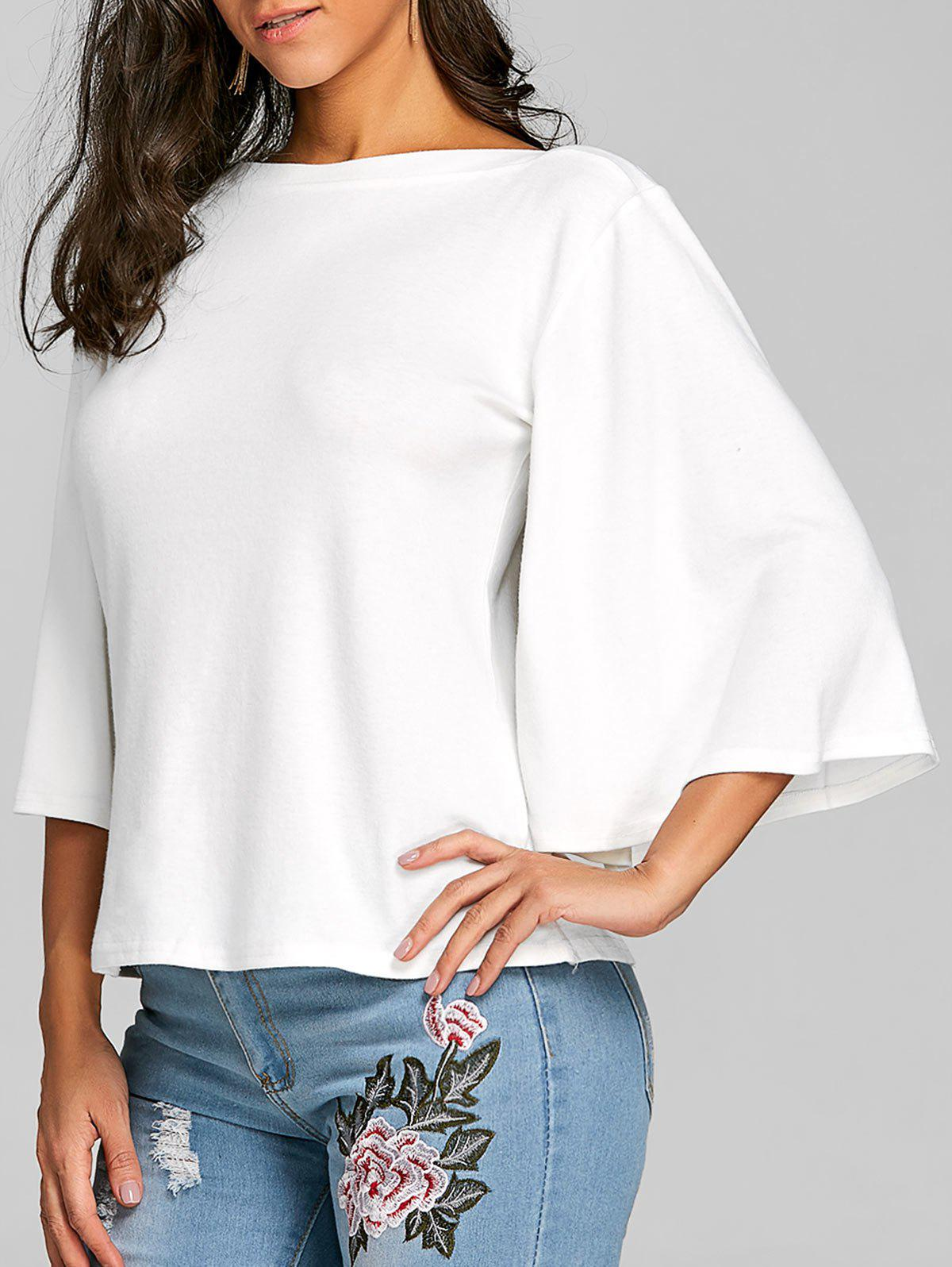 Flare Sleeve Tunic T-shirt - WHITE 2XL