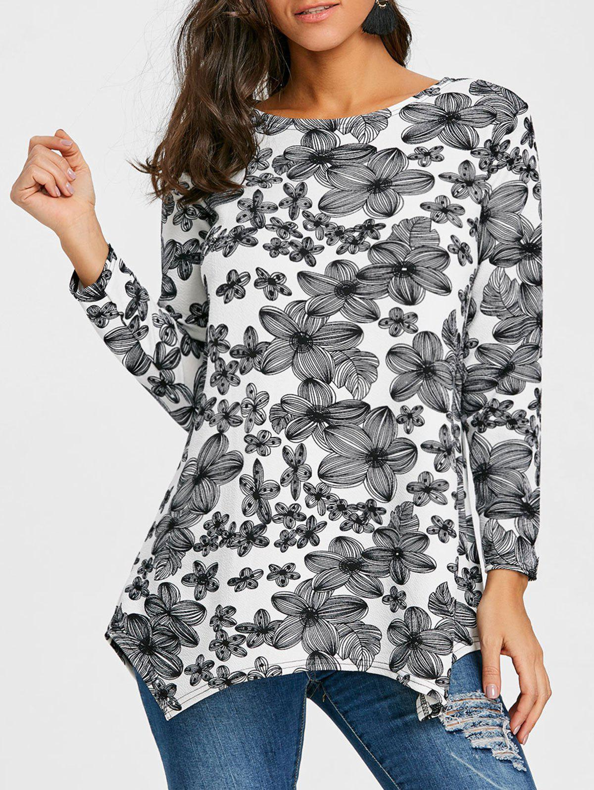 Full Sleeve Floral T-shirt - BLACK WHITE XL