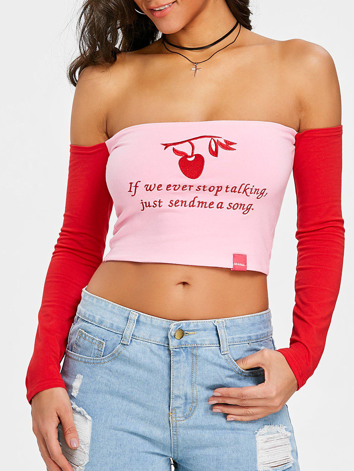 Letter Embroidered Off The Shoulder T-shirt - PINK S