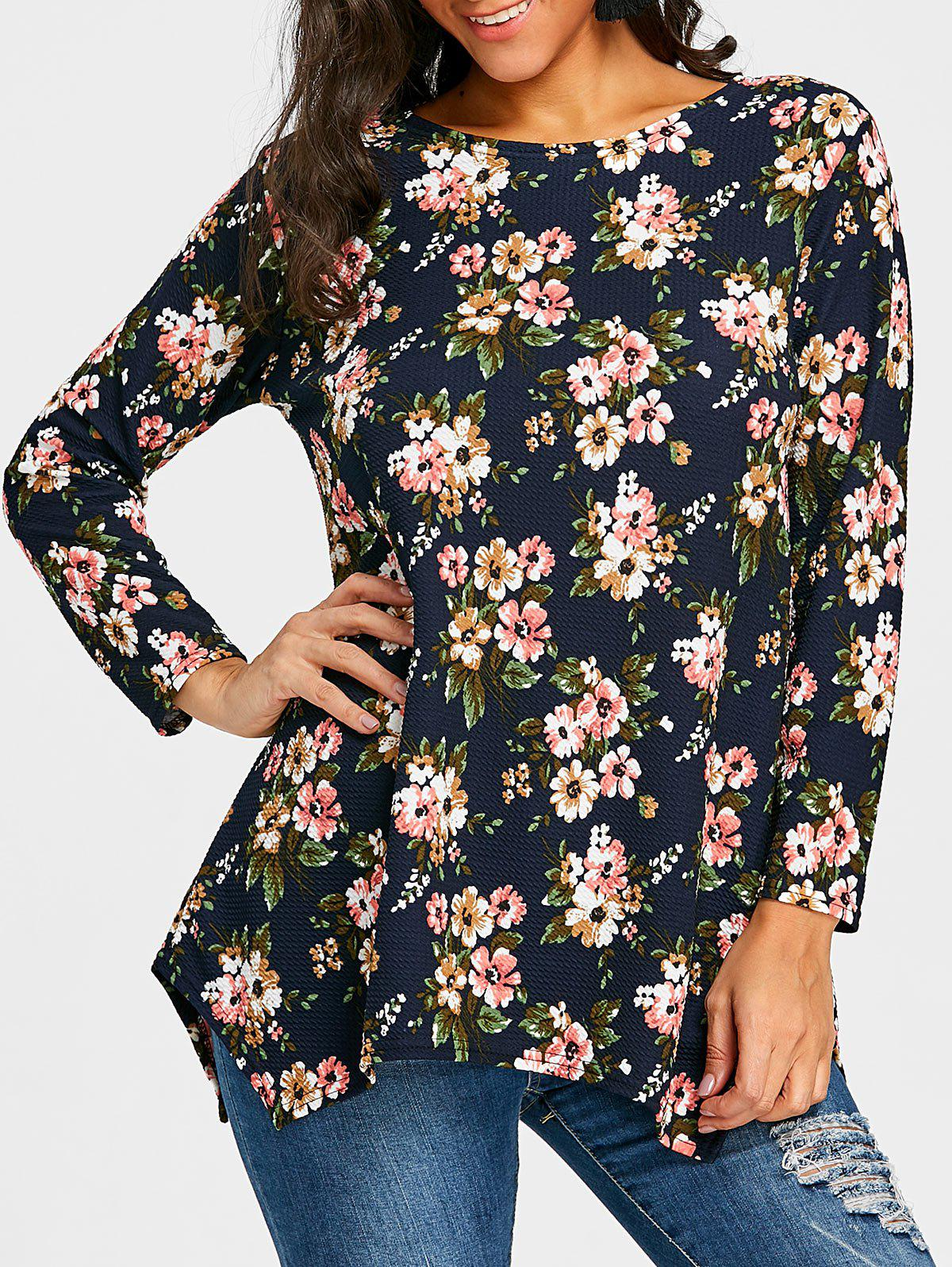 Full Sleeve Tiny Floral T-shirt - PURPLISH BLUE 2XL