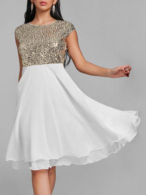 Flare Glitter Sequin Cocktail Dress - WHITE L