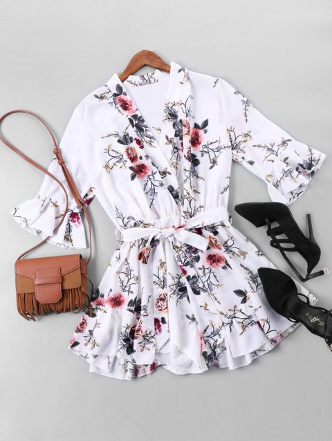 Floral Printed Belted Faux Wrap Romper - COLORMIX XL
