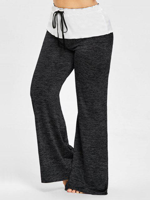 Drawstring Waist Plus Size Wide Leg Pants - DARK GRAY 3XL