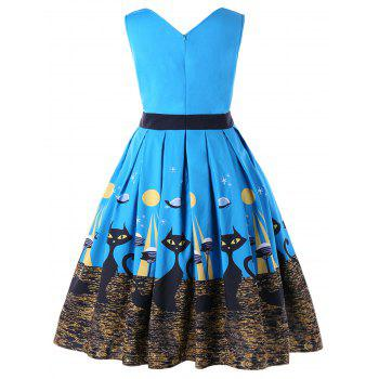 Plus Size Kitten Sleeveless Vintage Pleated Dress - BLUE 5XL