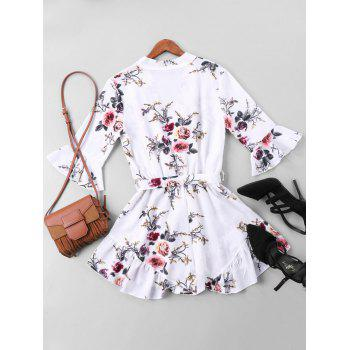 Floral Printed Belted Faux Wrap Romper - COLORMIX M