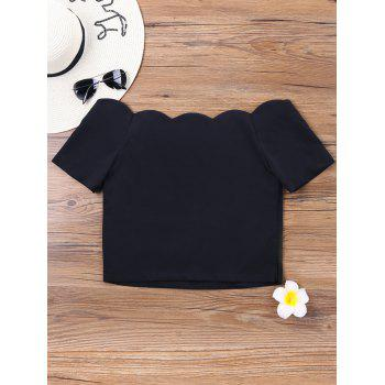 Short Sleeve Scalloped Collar Crop Top - BLACK L