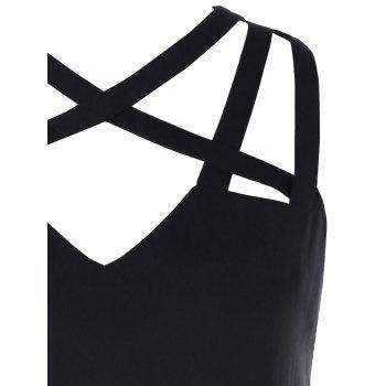 Strappy Cut High Low Tank Top - BLACK M