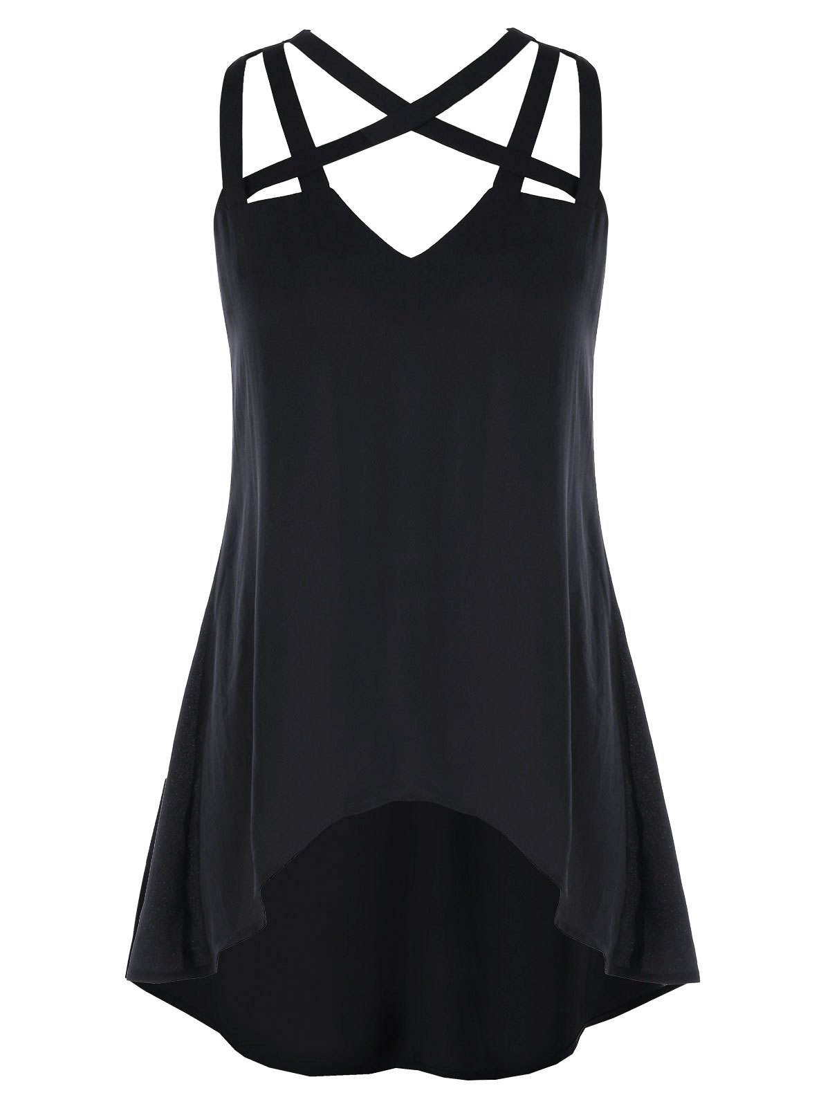 Strappy Cut High Low Tank Top - BLACK 2XL